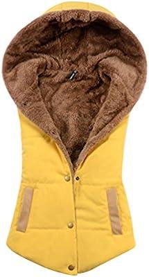 YOUJIA Chalecos con Capucha Abrigos de Mujer Chaleco Casaca sin Mangas Chaqueta sin Manga Chaquetas Cortas para Dama Invierno