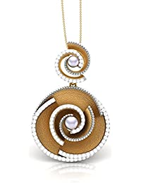 The House Of Diamonds 18KT Yellow Gold, Solitaire And Pearl Pendant For Women