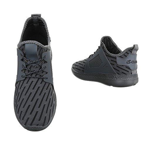 Slipper Damenschuhe Herrenschuhe Leichte Unisex Sneakers Ital-Design Halbschuhe Grau