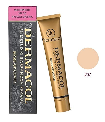 Dermacol Deckendes Make-up Cover für Gesicht und Hals - Wasserfeste Foundation mit LSF 30 für einen makellosen Teint - Stark deckendes helles Light Beige Apricot 207, 30g -