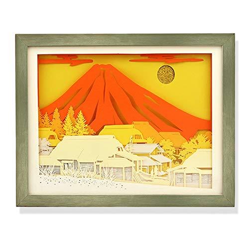 BuBu-Fu Papercut Light Box, Japan Panorama des Mount Fuji Schlafzimmer Hauptdekoration Papier Skulptur Lampe 3D-Schatten-Kasten-LED Licht Nachttischlampe -