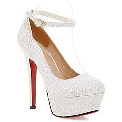 YE Frauen Round Toe Geschlossene Elegant High Heels Plateau Fashion Sexy Elegante Rote Sohle Knöchelriemen Damen Pumps (40EU, Weiß)