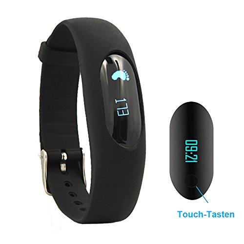 Willful Schrittzähler Armband Fitnessarmband Ohne Bluetooth mit Uhr / Kalorienzähler / Schlafüberwachung / Entfernung / Zeit / Daten Ohne APP Handy für Outdoor-Rennen Gehen (Schwarz)