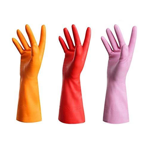 FOANA 3 Paar Gummihandschuhe Latexfrei Küchenreinigungshandschuhe Haushalt Wasserdichtes Geschirrspülen Living (Orange rot Rosa, 31x12.5cm) (Koch Rosa Messer-set)