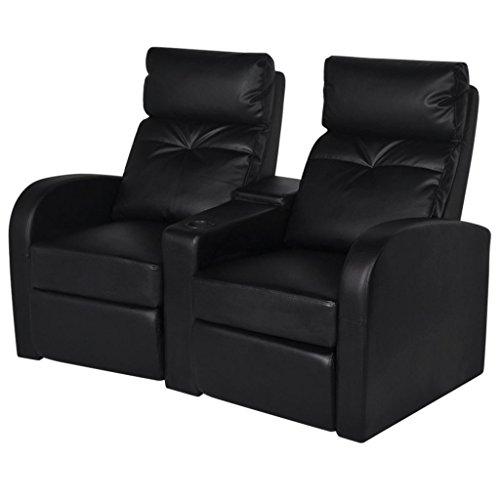 Vidaxl divano poltrona a due posti reclinabile moderno arredo casa ecopelle nera