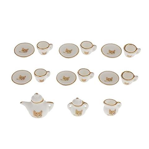 15x Dollhouse Miniature Thé Vaisselle Porcelaine Jouet Décor Salle Maison Ornement - Jaune Chat