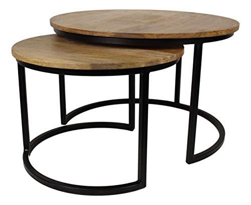 HSM Collection Satztisch Ronin Mittel Set aus 2, Holz, Natürlich Top/Schwarz Metall, 60 x 60 x 45 cm - Natürliche Schwarze Beistelltisch