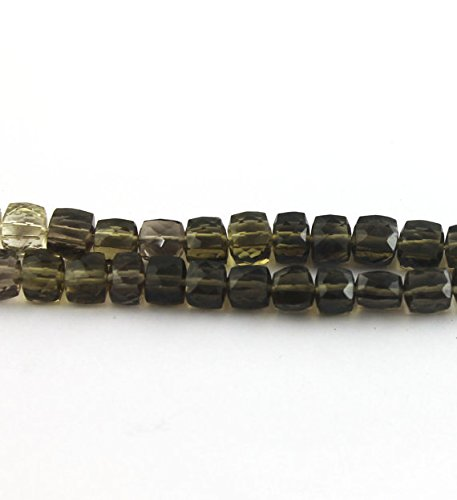 Strand Bio Smoky & Lemon Quartz 3D Cube Briolettes- Box Briolettes 6mm-7mm 8 Inches strand SB-986 (Halloween-sb)