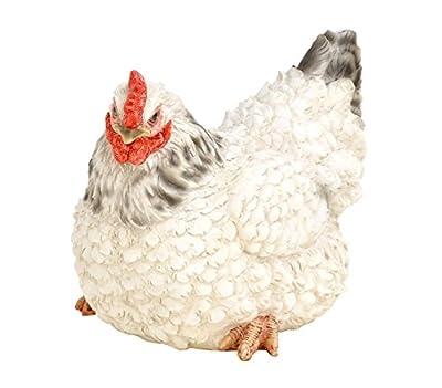 Dehner Dekofigur Henne liegend, ca. 26 x 17 x 20 cm, Polyresin, schwarz/weiß von Dehner - Du und dein Garten