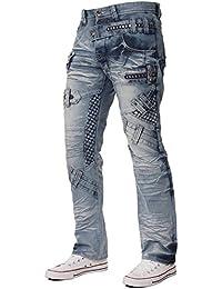 New Mens Eto Designer Funky Style Regular Straight Fit Jeans Blue All Sizes