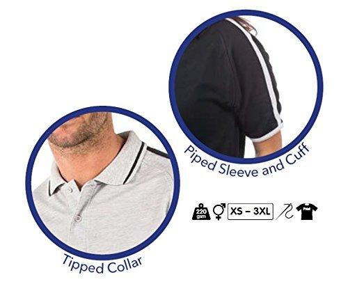 Bruntwood Aufgeld Verein Kontrast Polo Hemd - Premium Club Polo Shirt - Herren & Damen - 220GSM - Baumwolle/Polyester Grau Meliertes/Schwarz