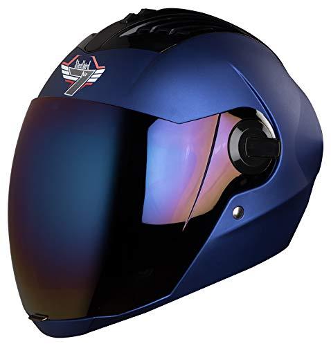 Steelbird SBA-2 7WINGS Full Face Helmet In Matt Finish with Tinted Visor (Large 600 MM, Matt Yamaha Blue/Ir. Blue Visor)