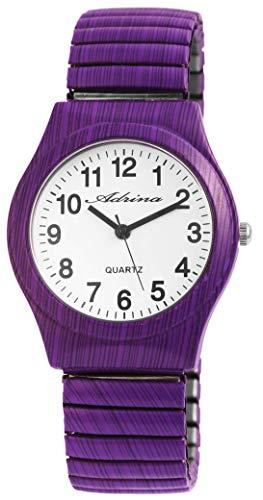 ADRINA Damenuhr Weiß Lila Holz-Optik Analog Quarz Metall Zugband Arabische Ziffern Armbanduhr (Damen Uhren Lila)