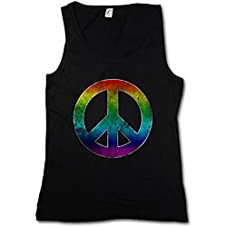 RAINBOW PEACE SYMBOL MUJER CAMISETA SIN MANGAS TANK TOP - arcoíris paz Sign Logo Hippie 60s Cultur Goa Gay Free Love 60s Hippie Summer Of Love Symbol Größen S - XL