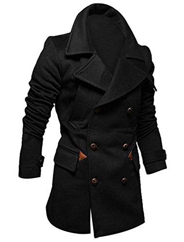 Sourcingmap Herren Mantel Zweireiher-Taschen, weich