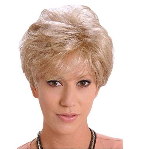 thaar-Perücke für Frauen, Kurze Super natürliche Damen Bob-Stil Bobo Head Damen Blond Hitzebeständig Mode Charming Locken wellig wellig Synthetik wie Echthaar Perücken,001 ()