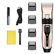 Hair Clippers Set for Men, Electric Haircut Kit for Kids, Barber Tools with USB Rechargeable Function, Body Grooming Clipper Hair Trimmer with 4 Guide Combs (Golden)