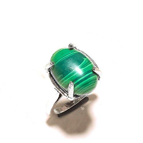 Mädchen, Frau Schmuck. grün Malachit Sterling Silber Overlay 5Gramm Ring Größe 6US