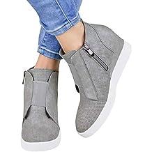 74bbde6006441 Minetom Femme Sneaker Mode Baskets en Mesh Respirant Chaussures Plates Mode  Automne Hiver Talon Compensé Plateforme