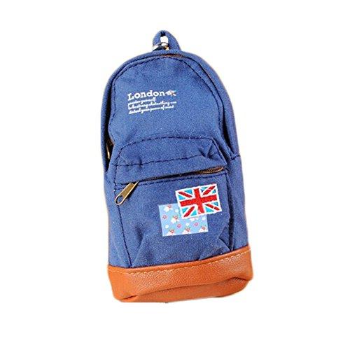 Creative Canvas School Bag sac cosmétique crayon stylo (17 * 9 CM, bleu, drapeau)