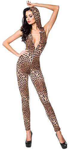 nlicher Overall mit Kapuze * Gr. XS-XL * Jumpsuit Einteiler Clubwear Catsuit Leopard ärmellos (18202 Leo L 900017) ()