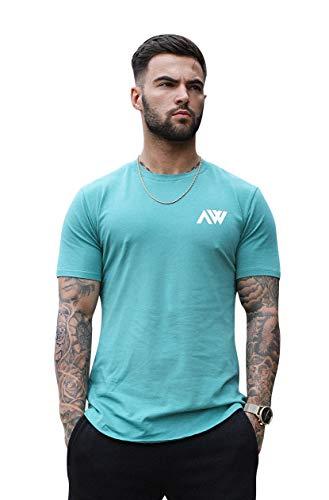 Aspire Wear Core T-Shirt, Muscle Fit, bequem, Stretch, ideal für Fitness-Training oder Freizeit. Gr. S, Dunkles Türkis