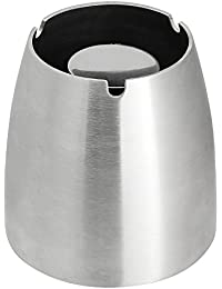Zilong Cendrier en Acier Inoxydable Anti-vent Anti-dérapant pour Intérieure et Extérieure Amovible et Lavable pour Fumeurs (Argent)