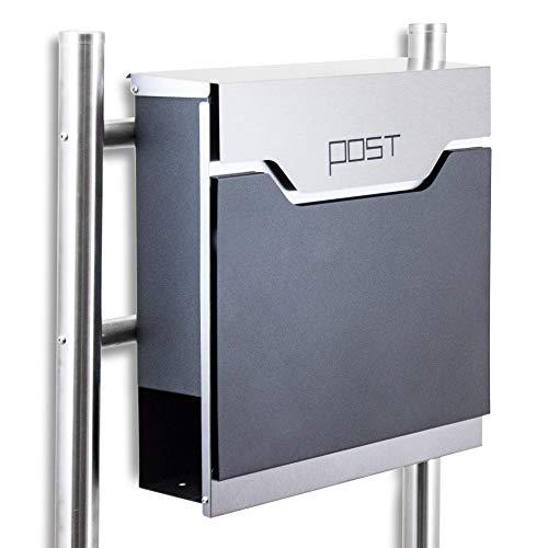 BITUXX® Design Standbriefkasten 16768 Briefkasten Briefkastenanlage Freistehender Postkasten mit Zeitungsfach Anthrazit Graphit Edelstahl