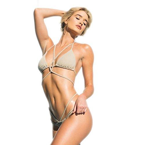 Jzlian Womens Two Piece Bandage Push Up Swimsuit Thong Bikini Set Bathing Suit