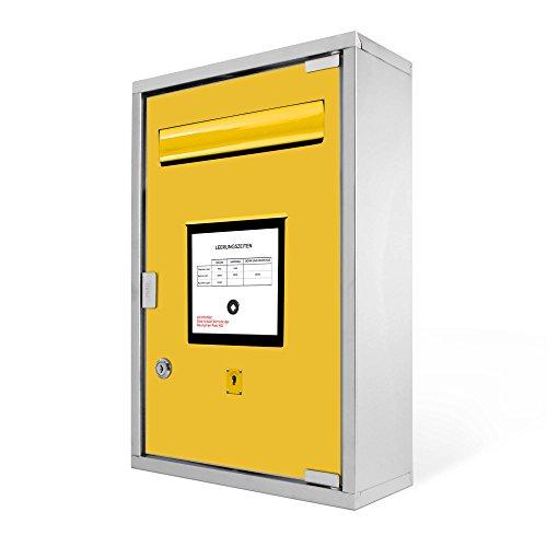 Medizinschrank groß Edelstahl abschließbar 30x45x12cm Arzneischrank Medikamentenschrank Hausapotheke Erste Hilfe Schrank Motiv Briefkasten Gelb