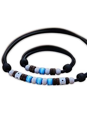 HANA LIMA ® Schmuck Set Surferkette Halskette Lederkette Surferarmband Lederarmband Armband