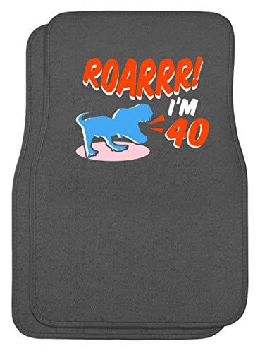 SPIRITSHIRTSHOP Roarr! I'm 40 - Dinosaurier brüllt sein Alter - Automatten -44x63cm-Mausgrau