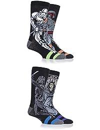 SockShop Mens 4 Pair Star Wars Darth Vader, Boba Fett, Emperor and Stormtrooper Socks