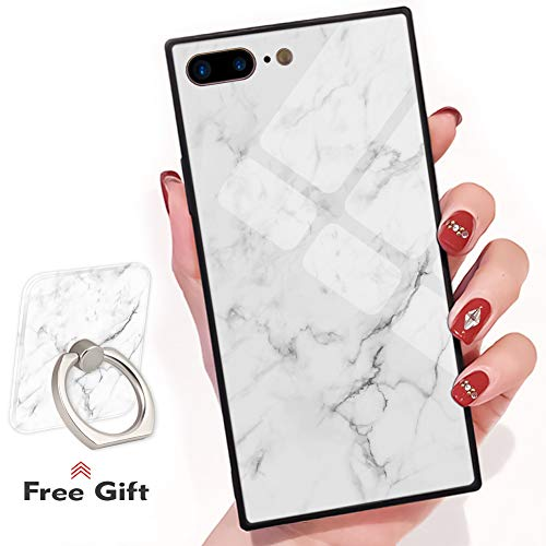 Bitobe iPhone 7 Plus iPhone 8 Plus Square Edges Case mit Handy Ring Stand Grip Holder Soft TPU Slim Square Case iPhone 7 Plus Phone Cover iPhone 8 Plus 5.5 Zoll, White Marble Design - Soft-grip-stand