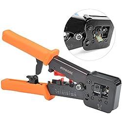 OFNMY RJ45 Outil de sertissage pour RJ11 / RJ12 Réseau et câbles téléphoniques - Outil de sertissage 3-en-1 télécom modulaire Pince de câble réseau Pince à sertir à cliquet pour câble réseau 6P / 8P