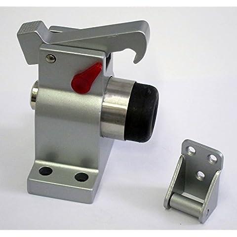 Haeusler-Shop TS-83030 - Tope de puerta (aluminio macizo, con tapón de bloqueo), color gris