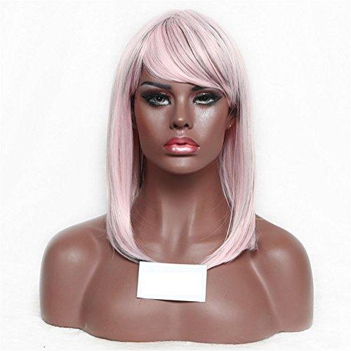 XYLUCKY Schöne kurze gerade Perücke Bobo Kopf Cosplay Perücken / Kostüm Party Fancy Dress (rosa) . (Sport Dress Accessoires Kostüme Und Fancy)