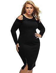 yueyue & FA Plus Ribbed fría hombro Negro manga larga vestido, color negro, tamaño extra-large