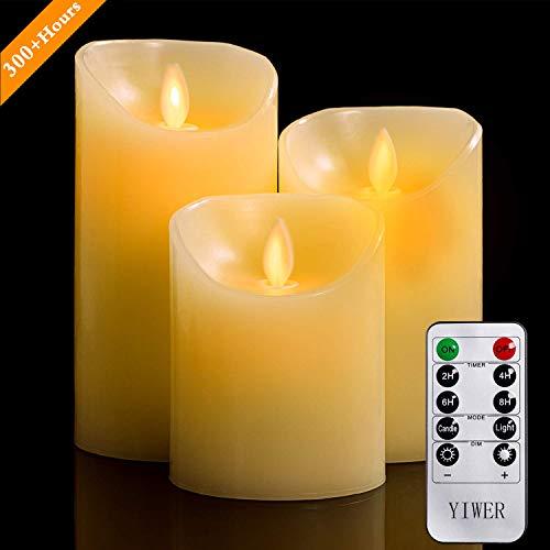 LED Kerzen,Flammenlose Kerzen 4/5/6inch Set aus 3 Echtwachs mit realistischen tanzenden LED Flammen und 10-Tasten Fernbedienung mit 2/4/6/8-Stunden Timer,300+ StundenYIWER (Elfenbein, 3×1)