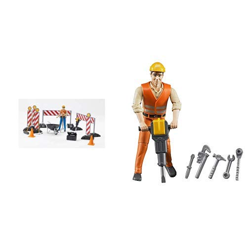 Bruder 62000 - bworld Baustellenset &  60020 Bauarbeiter mit Zubehör -
