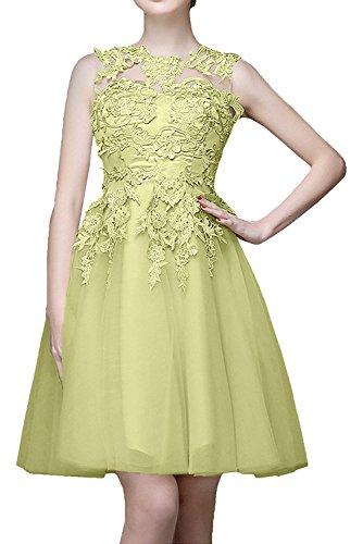 La_mia Braut Beige Kurzes Mini Abendkleider mit Spitze Ballkleider Cocktailkleider knielang tanzenkleider Hell Gelb