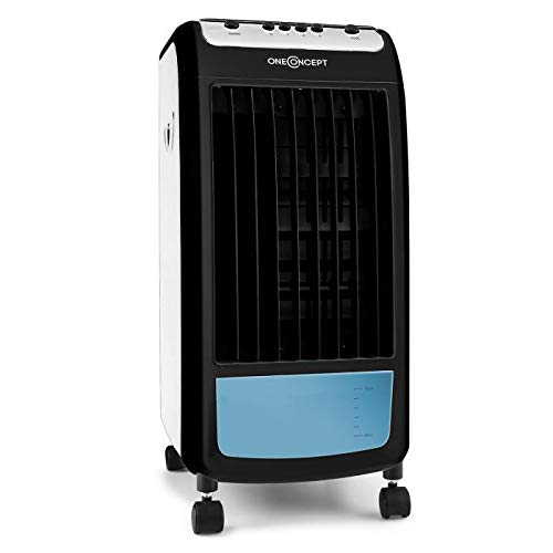 Oneconcept Caribbean Blue Dual Edition • Enfriador de Aire 3 en 1 • Ventilador • Humidificador • Filtro de Polvo • 70W • 400m³/h • 4l • 3 velocidades • Ruedas móviles • Diseño Compacto • Azul/Negro