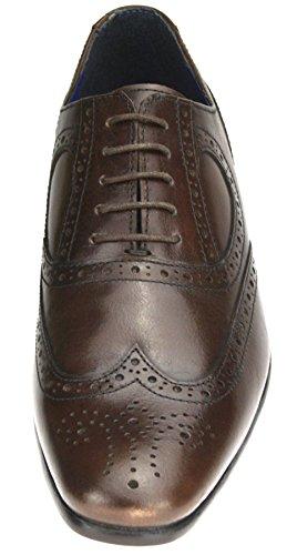Red Tape en cuir véritable Bout pointu Chaussures richelieu à lacets pour homme Noir/marron clair Marron - marron
