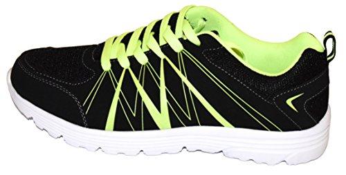 tmy 6207–30Chaussures de sport pour femme et homme, couleur noir/vert Taille: Néon 36–46 Multicolore - Schwarz/ Neon Grün