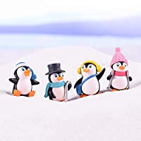 yMaJesT 4Pcs Cute Winter Penguin Miniature Figurine DIY Bonsai Fairy Garden Ornament