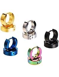 Mudder Edelstahl Kleine Hoop Ohrringe Hypoallergen Huggie Ohrring für Männer und Frauen, Verschiedene Farben, 5 Paar