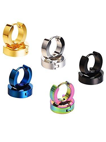 Mudder Stainless Steel Small Hoop Earrings Hypoallergenic Huggie Earring, Assorted Colors, 5 Pairs