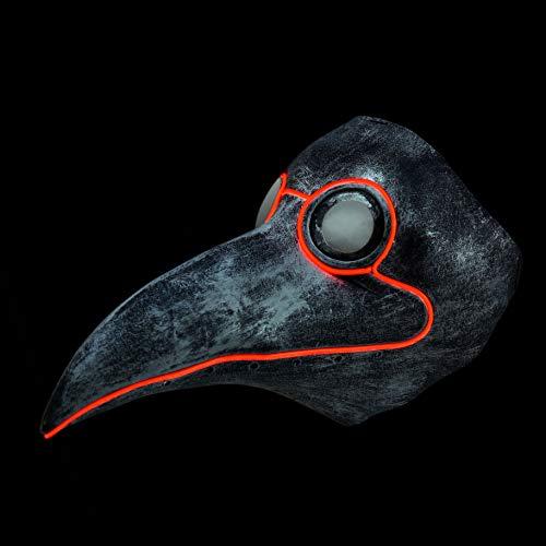 Neusky LED LEUCHT Maske, 3 Verschiedene Blinkmodi Elektronik Maske, Party Leuchtmaske (Silbern Vogel)
