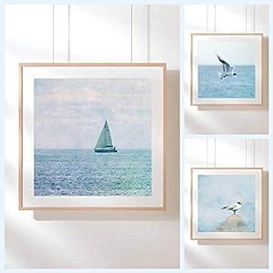 3er SET Fotografie Print Kunstdruck 14x14cm Möwen quadratisch Ostsee Baltic Himmel graublau