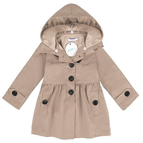Arshiner Little Girls Double-Breasted Trench Jacket Coat Dress Windbreaker Outwear (140(Age for 10-11Y), Khaki(FBA))
